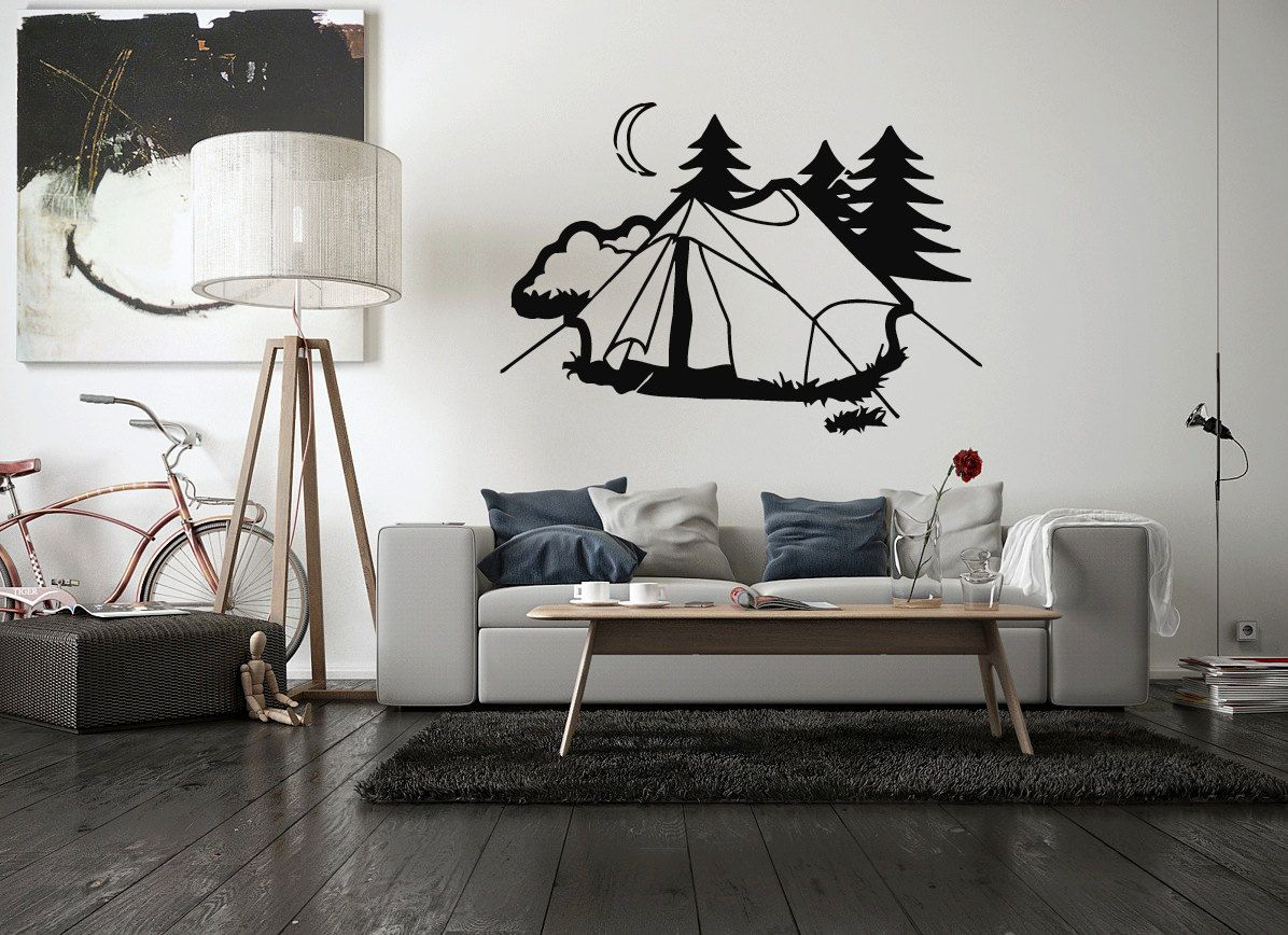 Wall Vinyl Sticker Decals Mural Room Design Decor Art Tent Camping Nature Rest Vacation bo2309 by RoomDecalsAndDesigns on Etsy
