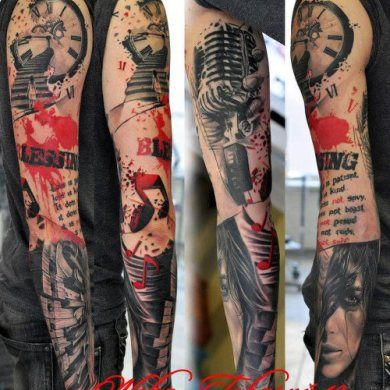 Tattoo Sleeves for Men   Music tattoo sleeves, Music ...