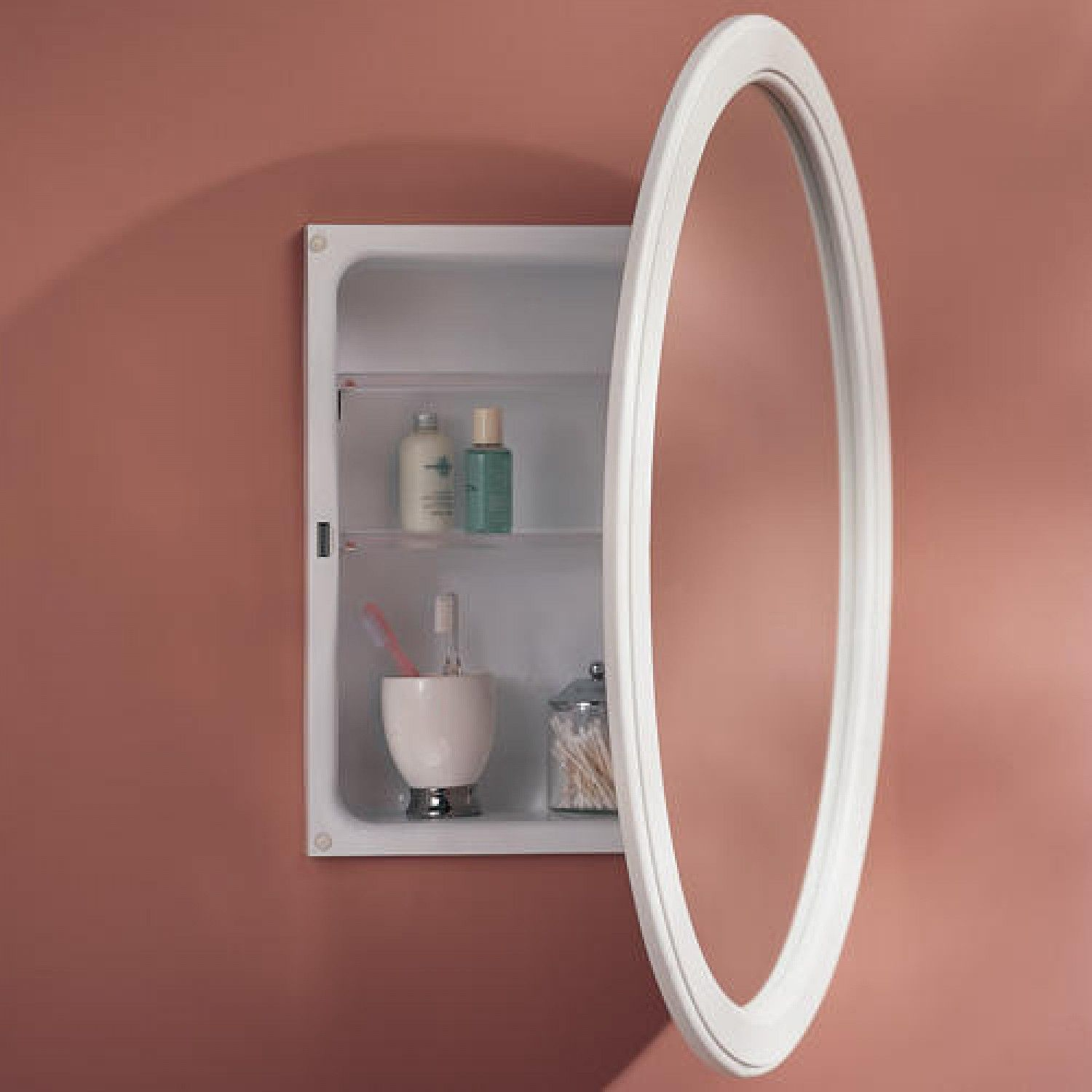 Dunhill Oval Recessed Medicine Cabinet Classic White Bathroom