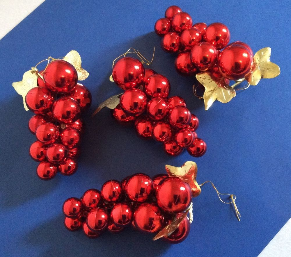 Bunch Of Grapes Set 4 Ornaments Red Wine Christmas Tree Holiday Home Decor Bar Wine Christmas Tree Christmas Wine Grape Bunch