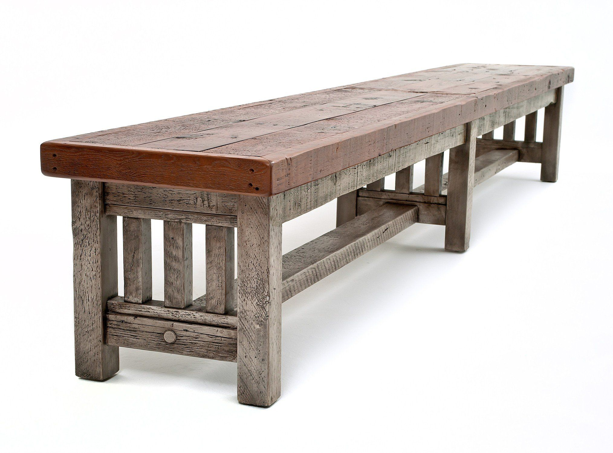 Rustic Reclaimed Barn Wood Mission Style Dining Bench In 2020 Barn Wood Reclaimed Barn Wood Mission Style Furniture