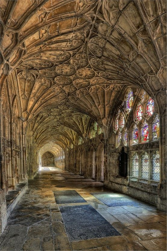 """The Cloisters"" - Gloucester Cathedral, England. Cloisters are open spaces surrounded by covered walks on the inner side, running along the walls of buildings and forming a quadrangle.  The attachment of a cloister to a cathedral or church, commonly against a warm southern flank.  Photo: indulgy.com/post/cloisters"