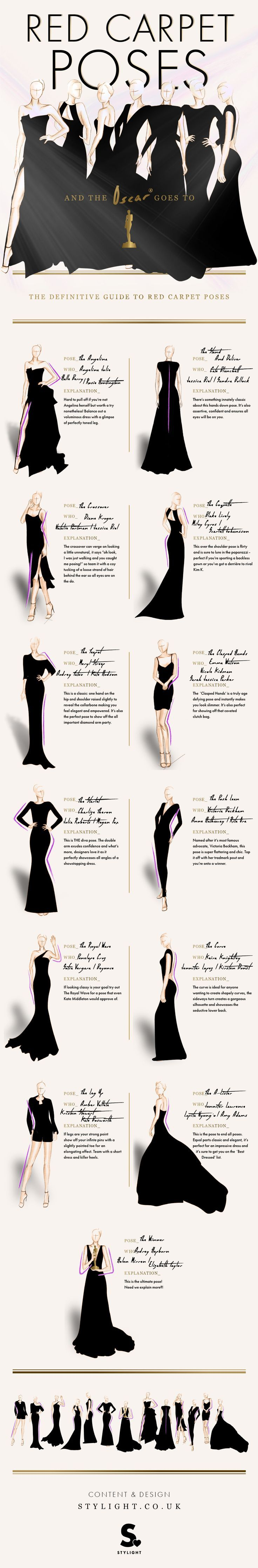 The definitive guide to red carpet poses infographics fashion