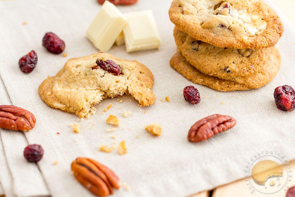cookies sirop d'érable, cranberries, noix de pécan et chocolat blanc