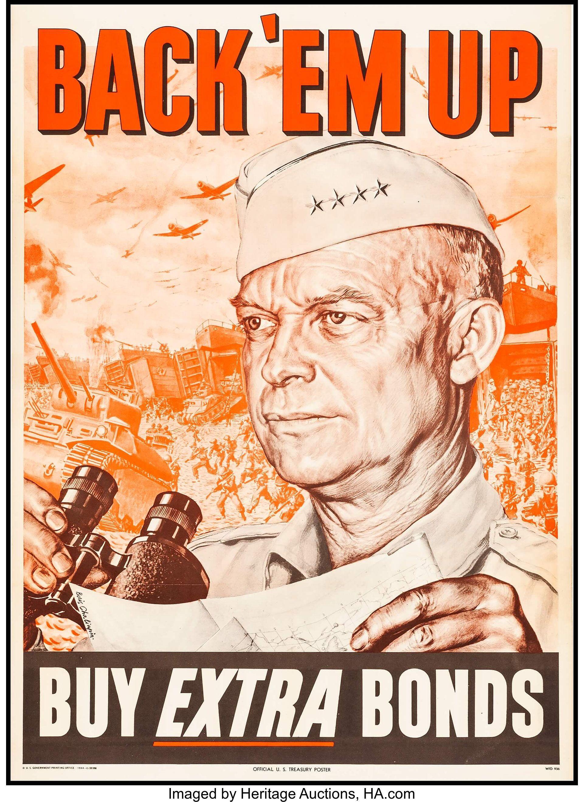U S Treasury Poster 20 X 28 Back Em Up Buy Extra Bonds By Boris Chaliapin 1944 Wwii Propaganda Posters Wwii Propaganda Wwii Posters