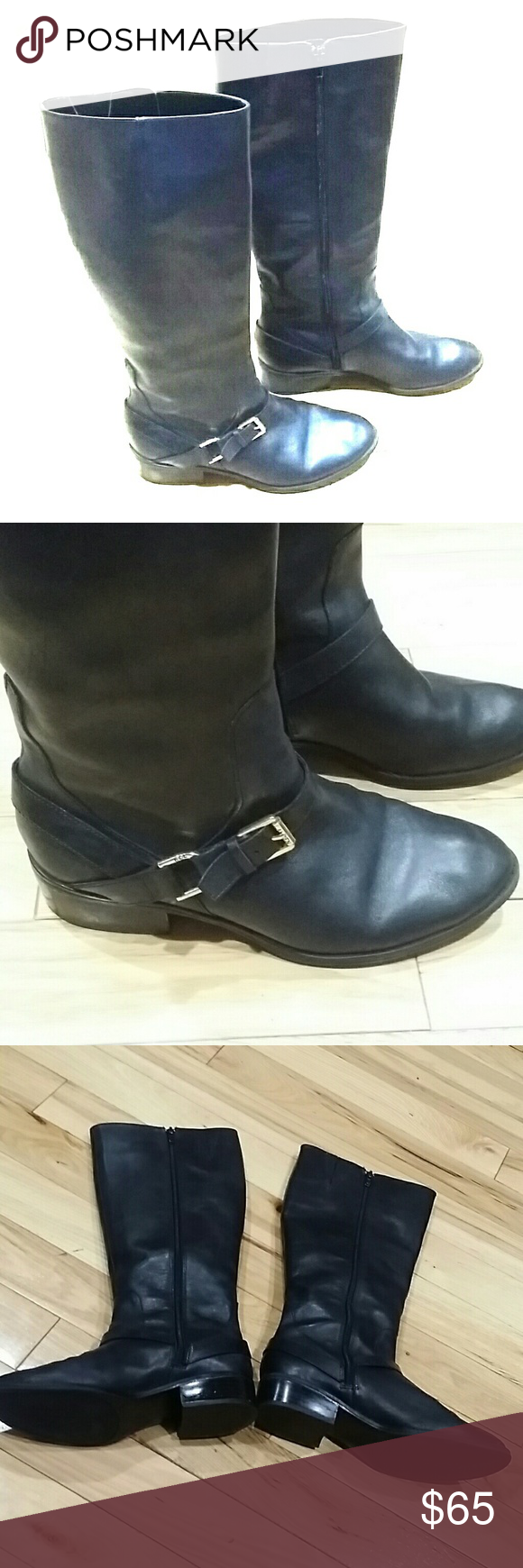 Ralph  Lauren knee boots black size 7.5 B Ralph Lauren knee high boots black color size 7.5 B has a buckle on the outside zipper on the inside beautiful black leather they are in very good condition. I'm selling them at a great price so get them today! Ralph Lauren Shoes Over the Knee Boots