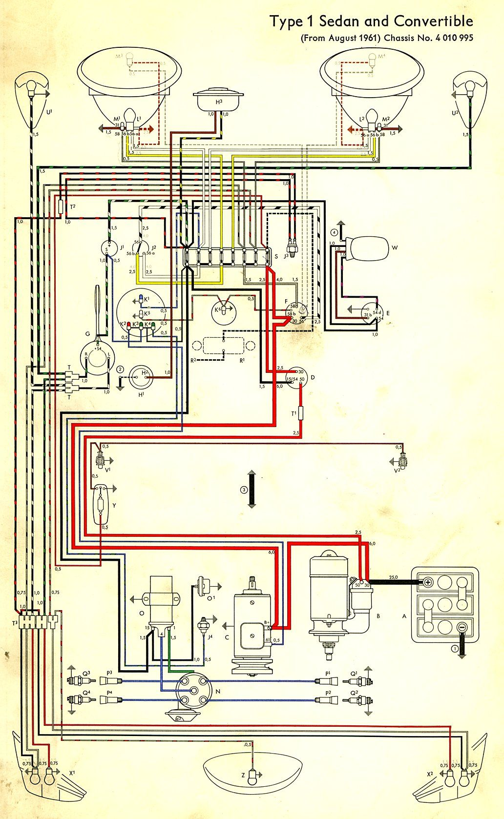 wiring diagram in color 1964 vw bug, beetle, convertible the samba colored wiring diagram vw type 3 wiring diagram in color 1964 vw bug, beetle, convertible the samba