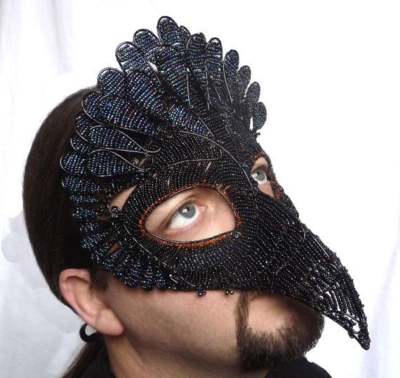 vulture masquerade mask mens costume accessory handmade bird of prey - Halloween Costumes With A Masquerade Mask