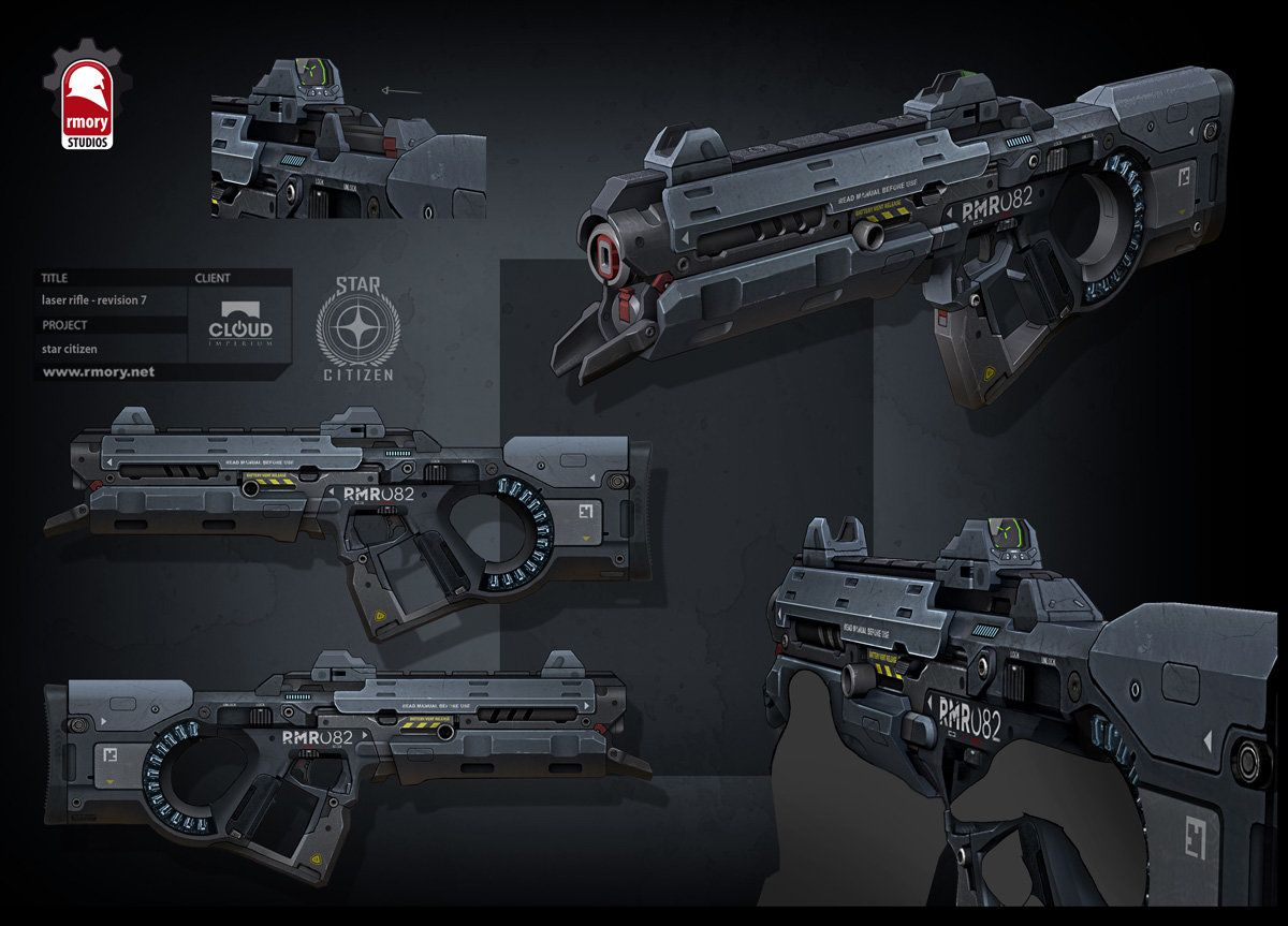 Star Citizen - laser rifle, Kris Thaler on ArtStation at https://www.artstation.com/artwork/star-citizen-laser-rifle