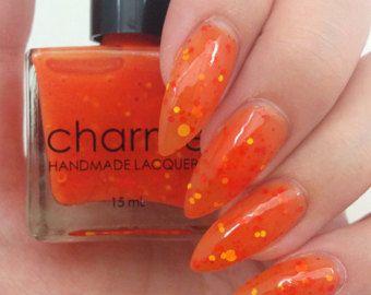 Paradise Island - Handmade Indie Orange Jelly Nail Polish with Matte Orange Yellow and Hot Pink Glitter - 15mL - 5 Free