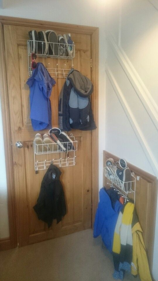 Coat and shoe storage for multiple kids!