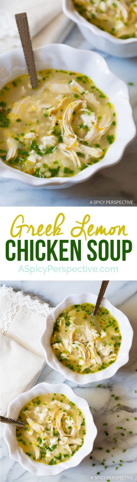 Just crazy over this Healthy Greek Lemon Chicken Soup Recipe on ASpicyPerspective.com #greeklemonrice