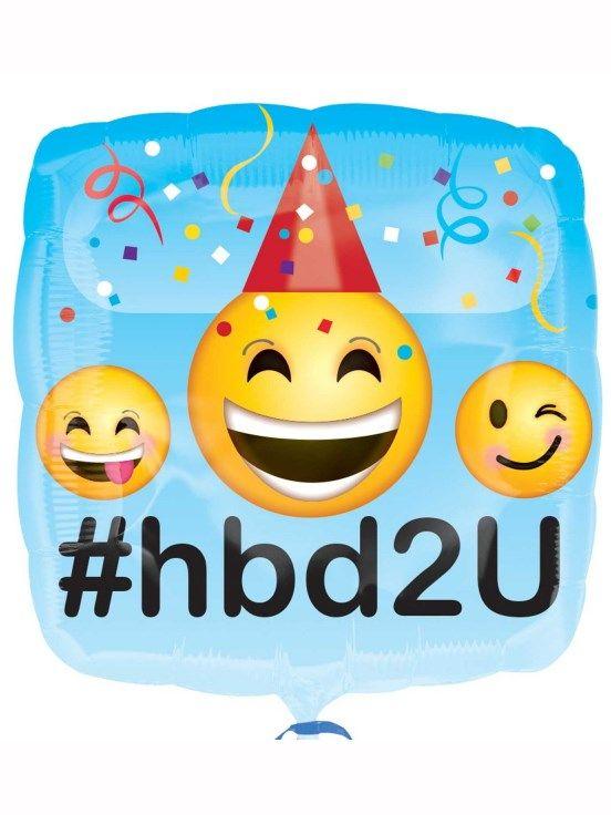 Happy Birthday 2 U Emoji 18 Foil Balloon