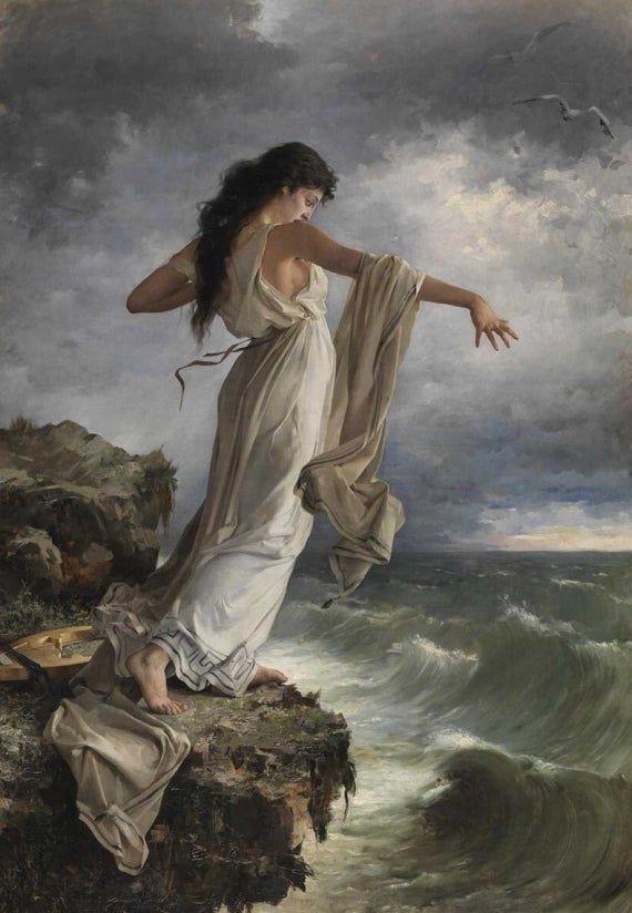 Death of Sappho | Pre-Raphaelite Art | Vintage | The Poetess