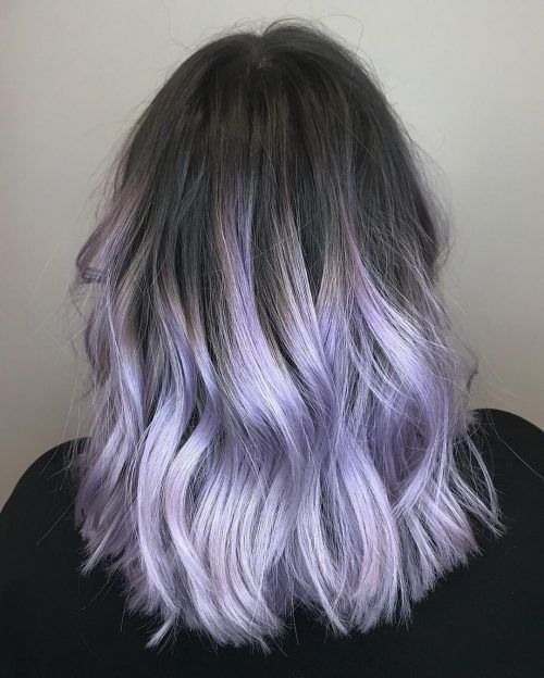 Black To Lavender Ombre Dyed Hairstyles Black Lavender Ombre In 2020 Lavender Hair Ombre Pastel Purple Hair Purple Ombre Hair