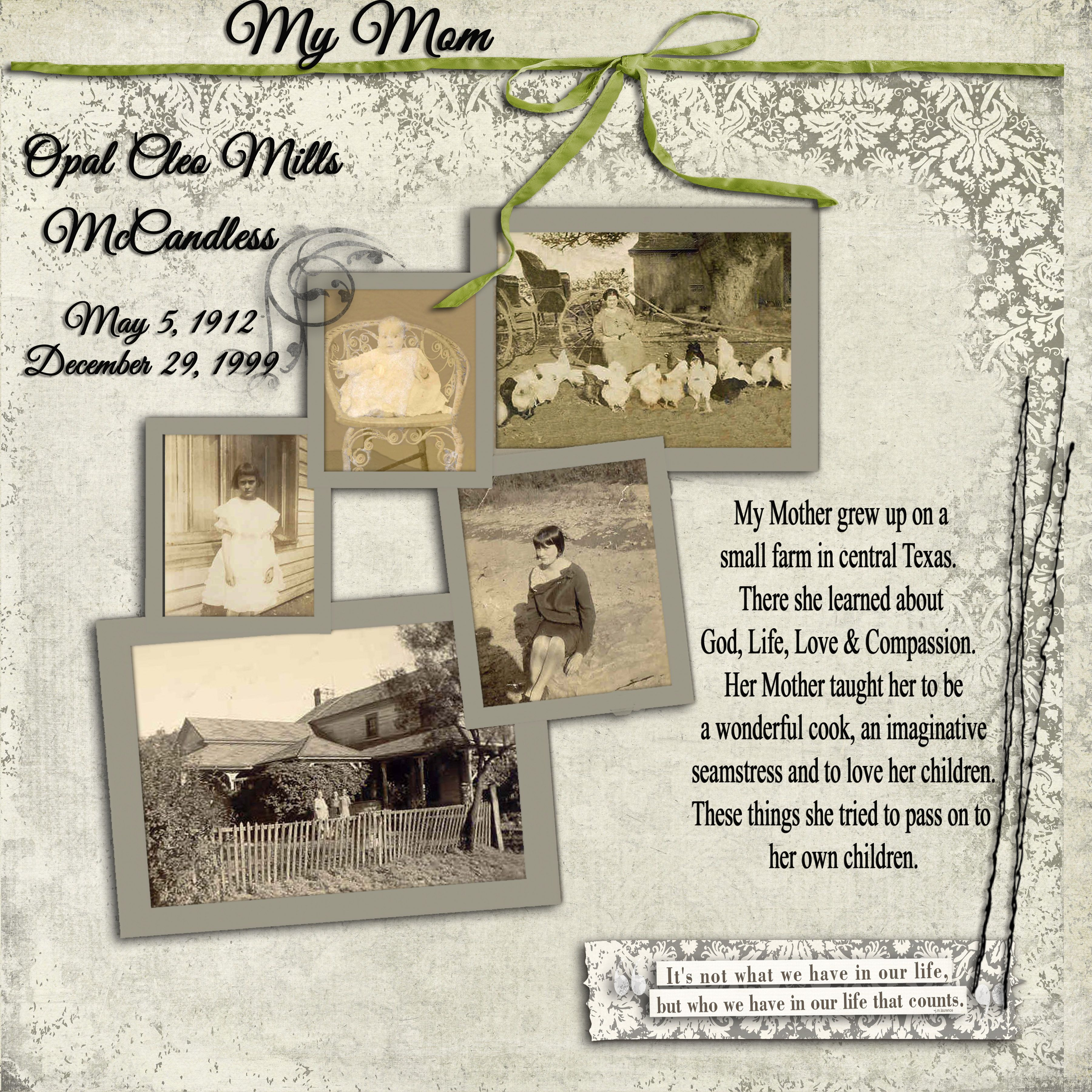 Opal Cleo Mills McCandless My Mom s Memorial Page