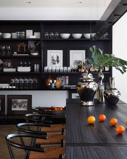 Black stained/painted built in with open shelving for bar ...
