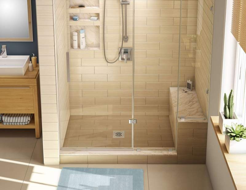 Tile Redi P3048c Rb30 Kit 30 X 60 Alcove Shower Pan With Single Curb Bench A Black Showers Pans Floor Mount