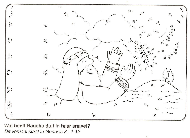 Wat Heeft Duif In De Snavel Noach Van Stip Naar Stip Bijbel Kleurplaten Ark Van Noach Bijbel Verhalen