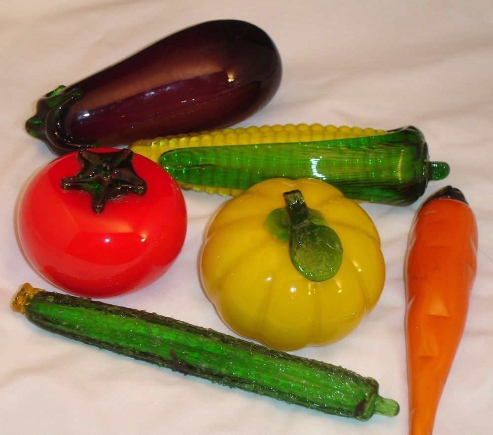 Eggplant kitchen accessories - Details About Glass Vegetables Lot Of 6 Life Size Hand Blown Corn Tomato Eggplant Zucchini