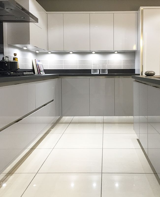 Gloss mackintosh kitchen in light grey and white with for Kitchen units without plinths