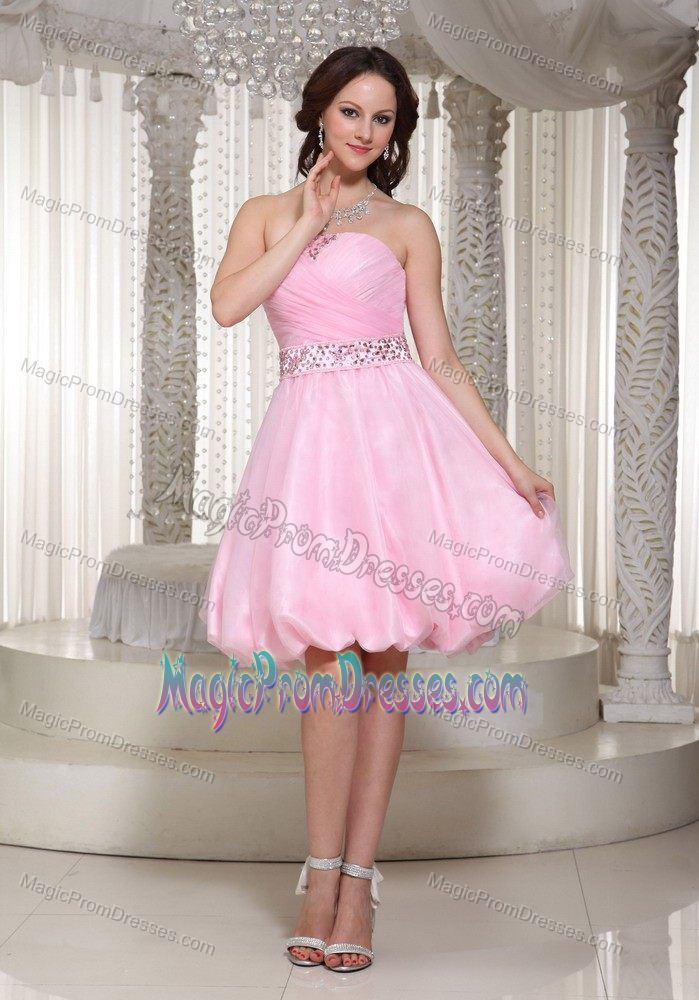 Pinkish peach puffy color dress