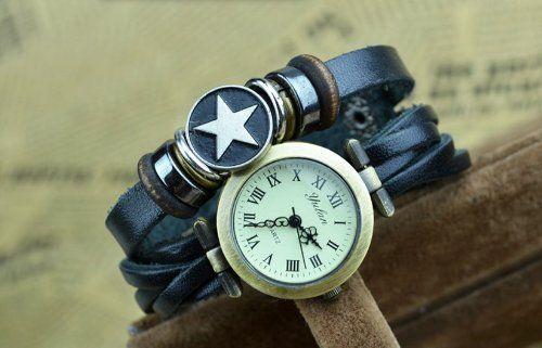 41% Off was $21.78, now is $12.89! Unisex Retro Star Leather Bracelet Wrist Watch Dark Green Belt Xmas Gift