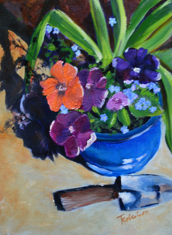 Petunia floral original oil painting. Still life flower