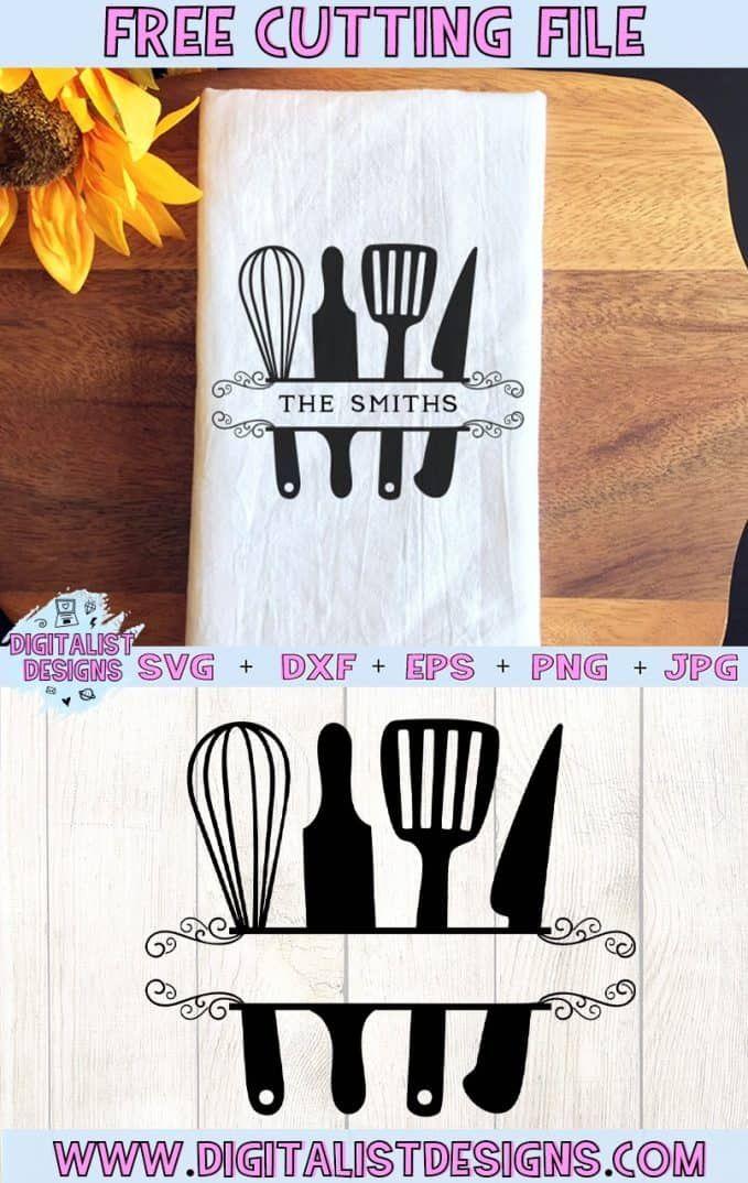 Free Utensil Monogram Kitchen SVG - DigitalistDesigns