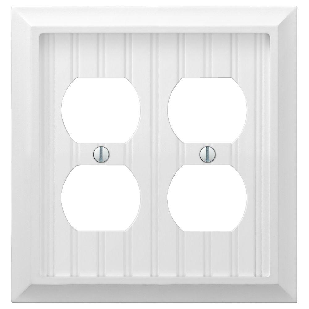 Amer Tac Cottage 2 Gang Duplex Wall Plate White Products