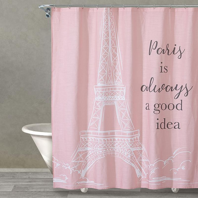 Yes To Paris Pink Eiffel On White Ground 100 Cotton Shower