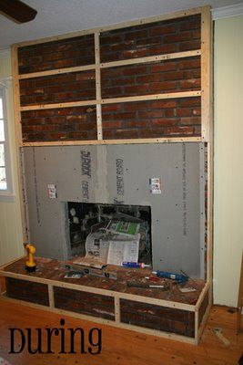 Fireplace remodel not a fan of the tile they chose but - How to cover brick fireplace ...