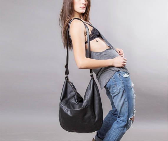 Black Leather bag - large leather purse SALE Hobo leather bag - leather  tote bag - crossbody bag - d4e2756ef5