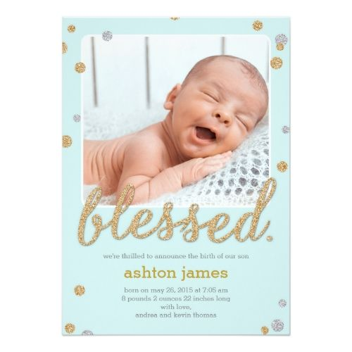 Just Blessed Birth Announcement - Blue Zazzle Baby Girl