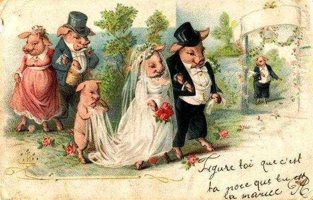Свадьба старинные открытки