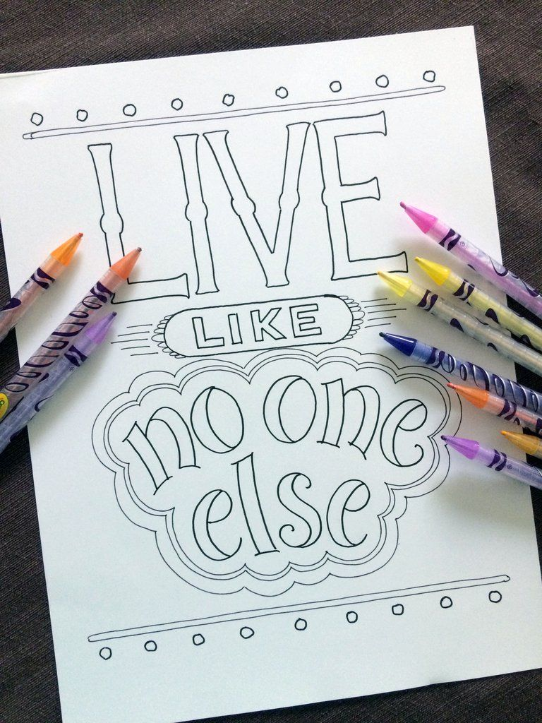 Live Like No One Else Coloring Page - NEW Debt Free Coloring Pages ...