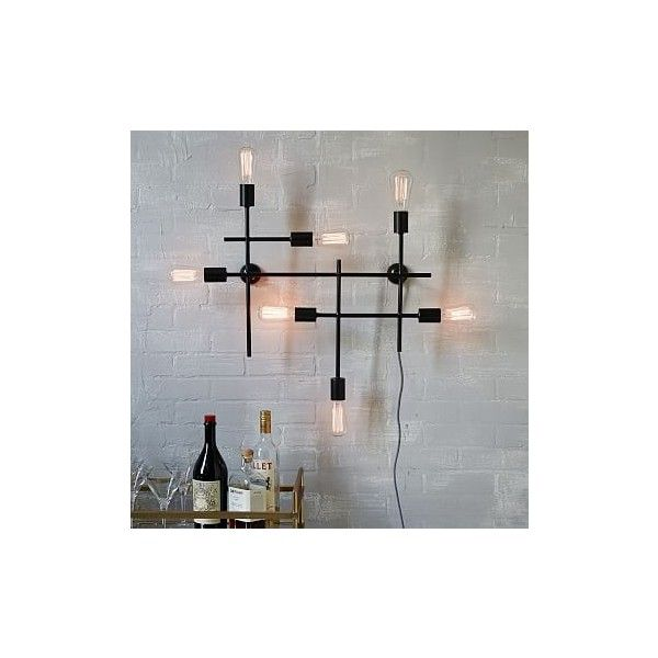 West Elm Industrial Grid Wall Light (260 AUD) ❤ Liked On Polyvore Featuring  Home
