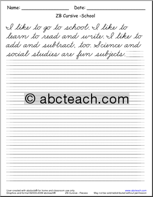 Cursive Handwriting - Read and Write - ZB Style Font - Handwriting ...