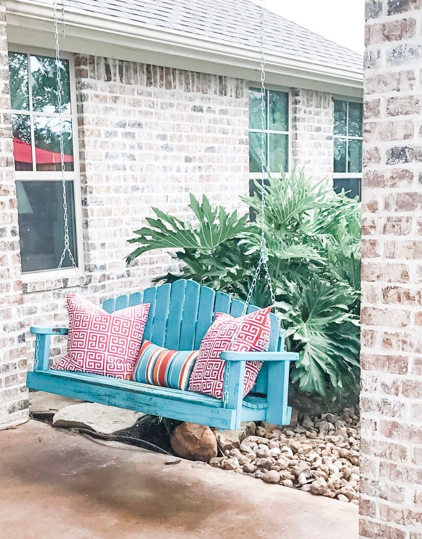 Color for the patio! Porch swing, Outdoor decor, Outdoor