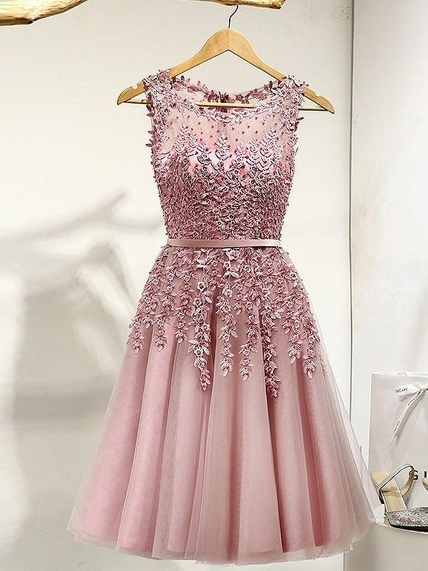 Line Round Appliques Pearls Ribbons Mini Prom Dress | Disenos ...