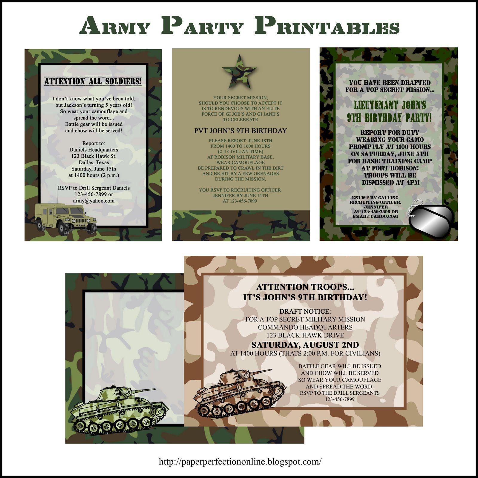 Paper Perfection: Army Party Printables | Verjaardagsfeestjes ...