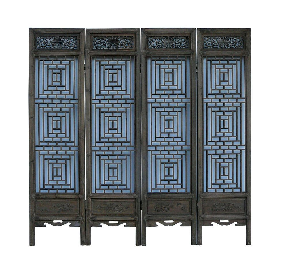 Hallway cabinet decor  Chinese Vintage Finish Geometric Pattern Wood Panel Screen cs