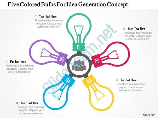 Five Colored Bulbs For Idea Generation Concept Powerpoint
