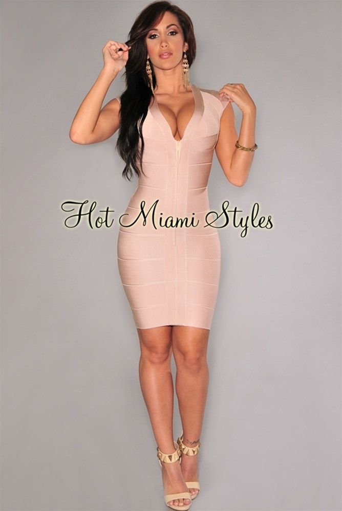 e255fa7b7c Nude Front Zipper Bandage Dress Womens clothing clothes hot miami styles  hotmiamistyles hotmiamistyles.com sexy club wear evening clubwear cocktail  party ...