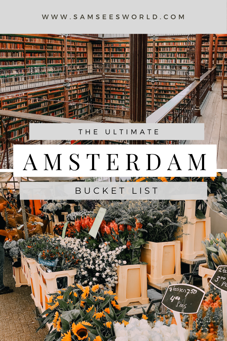 Here are the top things to do in Amsterdam, The Netherlands. These things make up a bucket list of the top things to do in the city that will make a perfect Amsterdam experience. From the Anne Frank House to The Rijksmuseum to the Gingerbread Houses and more! #Amsterdam #Netherlands #Travel #Wanderlust