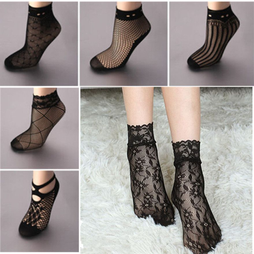 Panties-calcetines de tobillo, negros, con volantes de encaje, cortos y de rejilla