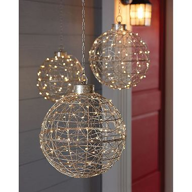 Member\u0027s Mark LED Spheres, Set of 3 (Champagne Wire) Christmas