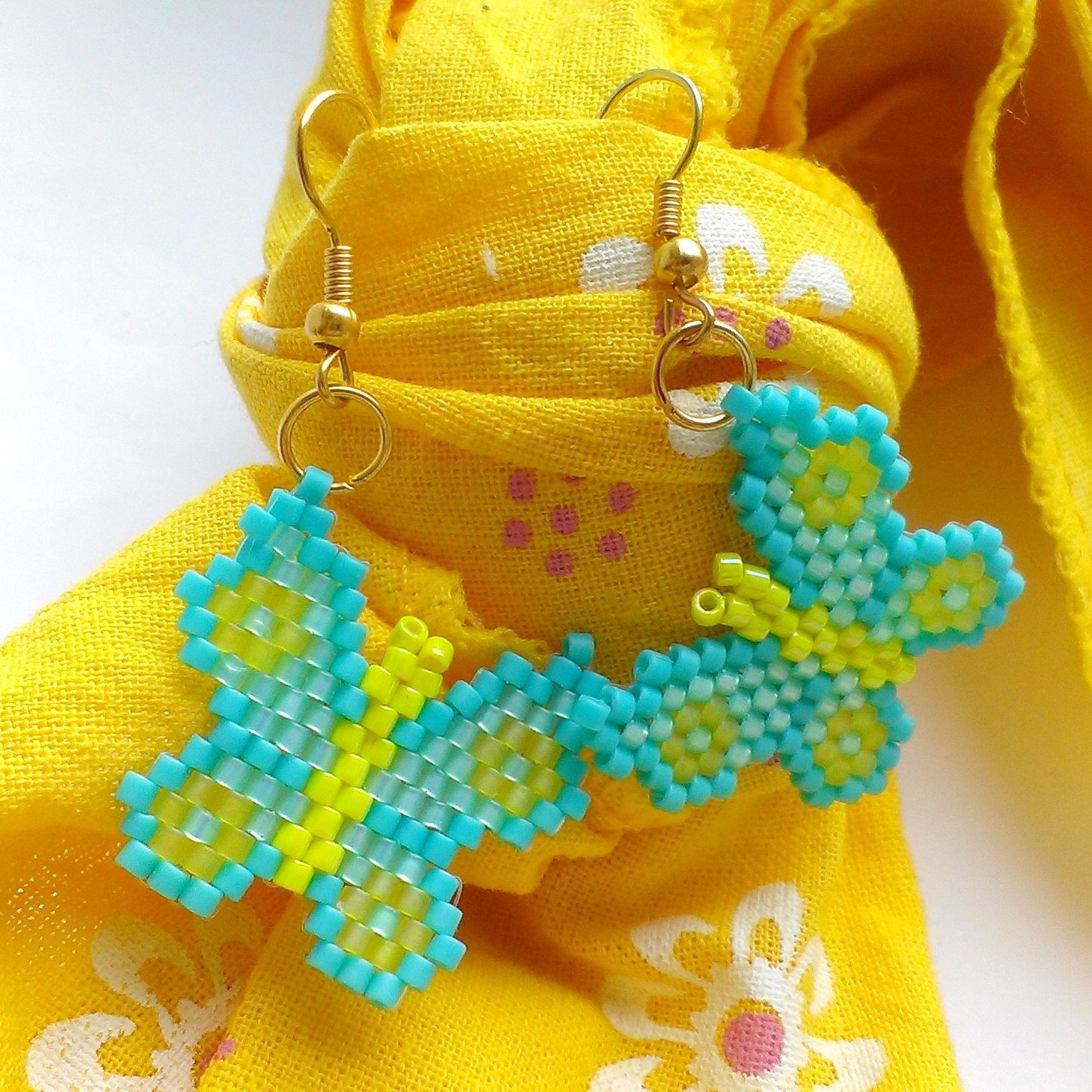 Butterfly earrings Christmas earrings Beaded butterflies by Galiga
