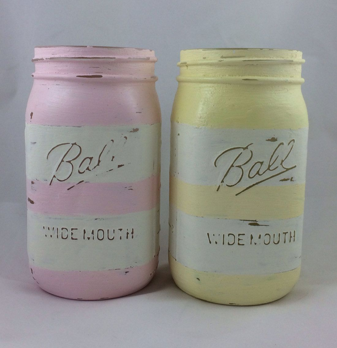 Pastel striped mason jars by Therefurbishednest on Etsy ...