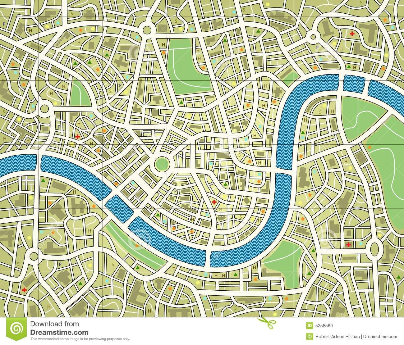 Nameless City Map Stock Vector Illustration Of Survey 5258569 Within Blank City Map Template Sample Professiona City Maps Illustration Illustrated Map Map